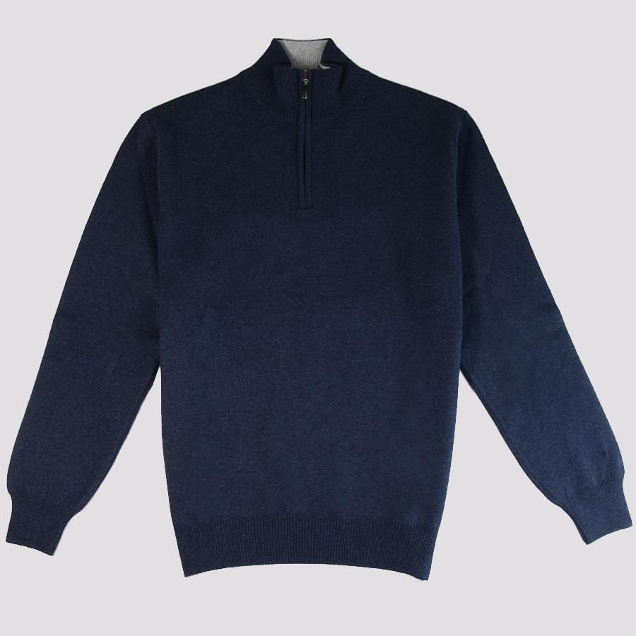 meilleur service 72a0d c4b4a Pull Fin Col 1/2 Zip Bleu Nuit Best Yarn