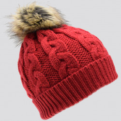 Inis Crafts Red Pompom Beanie