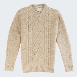 Peregrine Heather Beige Twisted Round Neck Sweater