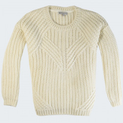 Out Of Ireland Ecru Round Collar Sweater