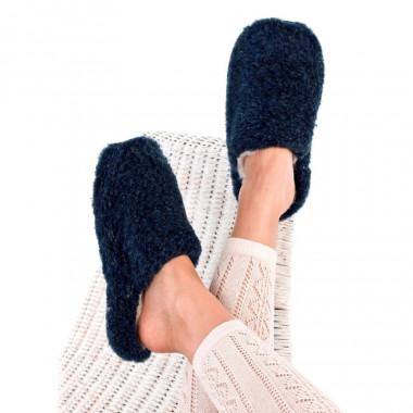 Alwero Midnight Blue Wool Basic Slippers