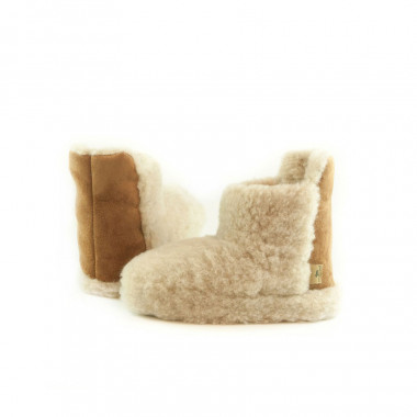 Chaussons Boots Laine Beige Alwero