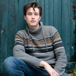 Out Of Ireland High Collar Striped Grey Sweater