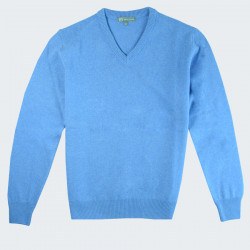 Best Yarn V-neck Sky Blue Extra Thin Wool Sweater