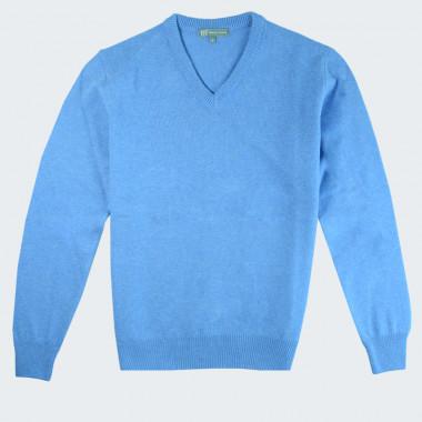 Best Yarn V-neck Sky Blue Extra Thin Wool Sweater
