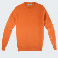 Best Yarn Extra Thin Wool Round Collar Orange Sweater