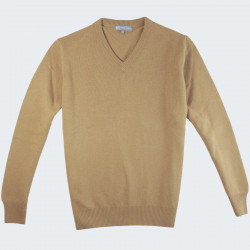 Best Yarn V-neck Camel Extra Thin Wool Sweater