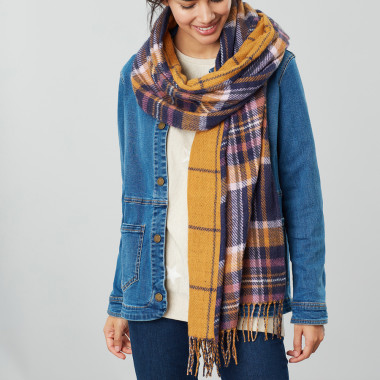 Tom Joule Navy Checked Scarf