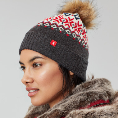 Tom Joule Navy and Red Jacquard Beanie