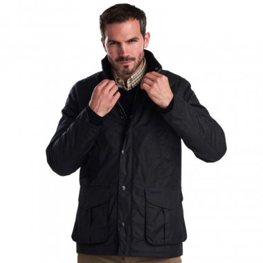 Barbour Hereford Navy Wax Jacket
