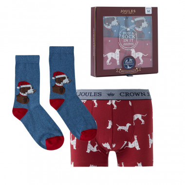 Tom Joule Box Red Dogs Socks + Boxer