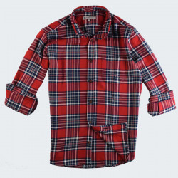 Out Of Ireland Red Navy Thick Checked Shirt