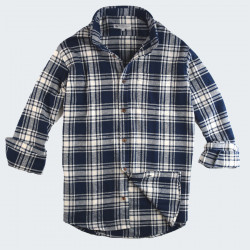 Out Of Ireland Navy and Ecru Thick Plaid Shirt
