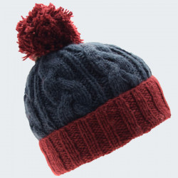 Kusan Blue Contrast Red Wool Pompon Beanie