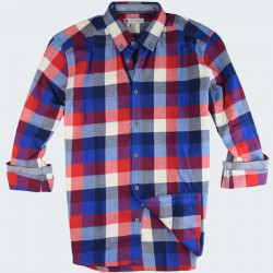 Out Of Ireland Navy and Red Damier Flannel Shirt