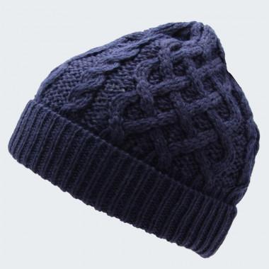 Inis Crafts Navy Blue Aran Beanie Hat