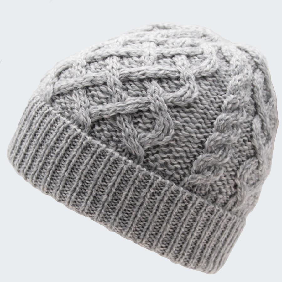 Bonnet Torsades Et Tresses Gris Clair Inis Crafts