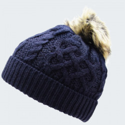 Inis Crafts Navy Beanie Hat With Pompom