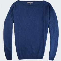 Best Yarn Collar Boat Long Sleeves Blue Sweater