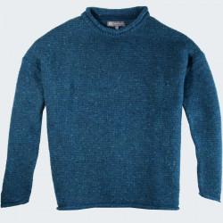 Pull Droit Finitions Roulottées Bleu Paon Best Yarn