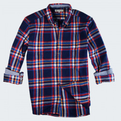 Out Of Ireland Navy and Yellow Checks Flannel Shirt