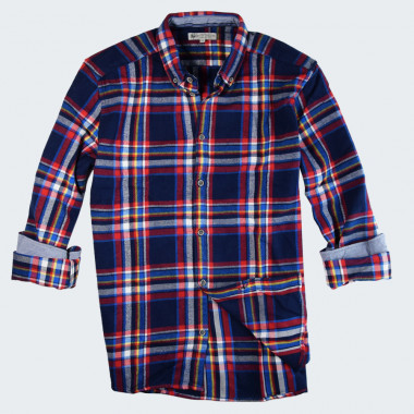 Out Of Ireland Navy and Yellow Plaid Flannel Shirt