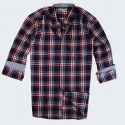 Out Of Ireland Navy and Red Plaid Flannel Shirt
