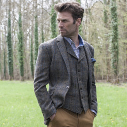 Veste Harris Tweed Sumburgh Marron et Beige Brook Taverner