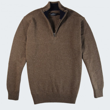 Pull Lambswool Taupe Col Zippé Celtic Alliance