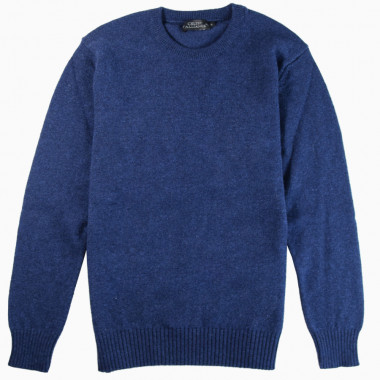 Pull Lambswool Col Rond Bleu Celtic Alliance
