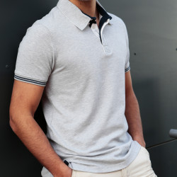 Out Of Ireland Heather Grey Pique Cotton Polo Shirt