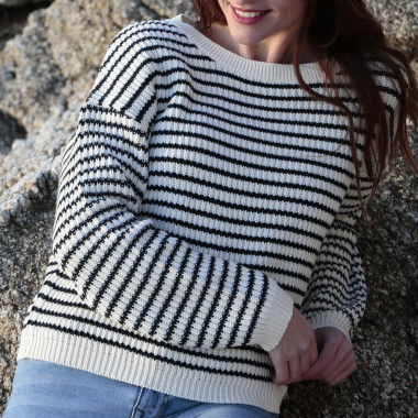 Out Of Ireland Ecru and Navy Striped Sweater