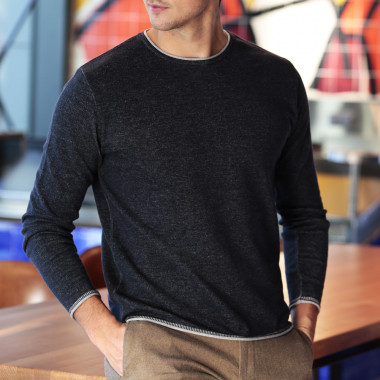 Out Of Ireland Navy Grey Roll Neck Sweater