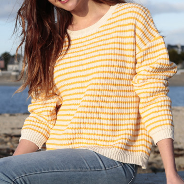 Pull Rayé Ecru et Jaune Out Of Ireland