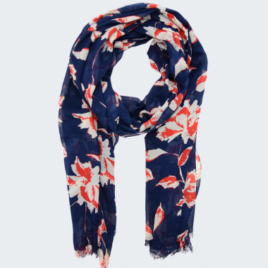 Navy Scarf with Flowers Out of Ireland