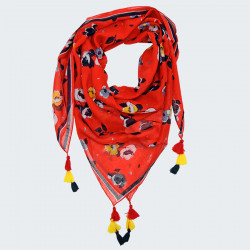 Out Of Ireland Red Square Scarf with Flowers