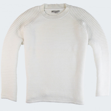 Out Of Ireland White Round Collar Sweater