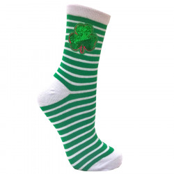 Striped Socks with Green Sequins Clover