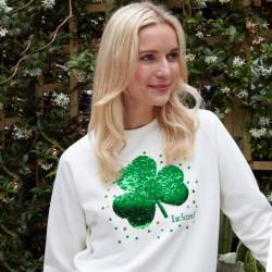 Women's Sequin Clover Cream Sweatshirt