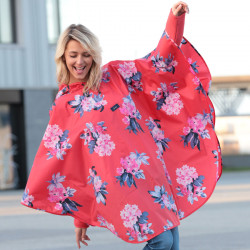 Poncho Rouge Fleurs Tom Joule
