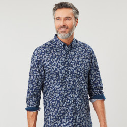 Tom Joules Printed Flowers Navy Background Shirt