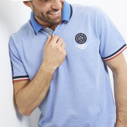 Black Wellis Heather Sky Blue Short Sleeve Polo Shirt