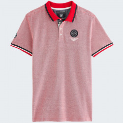 Polo Manches Courtes Rouge Chiné Black Wellis