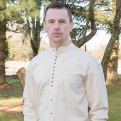 Emerald Isle Weaving Ecru Irish Cotton Shirt Officer Collar
