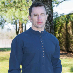 Emerald Isle Weaving Navy Irish Cotton Shirt Officer Collar