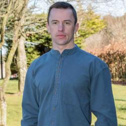 Emerald Isle Weaving Ink Blue Irish Cotton Shirt Officer Collar
