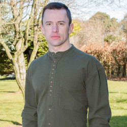 Emerald Isle Weaving Khaki Irish Cotton Shirt Officer Collar