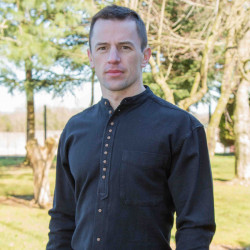 Emerald Isle Weaving Black Irish Cotton Shirt Officer Collar