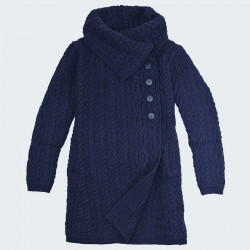 Inis Crafts Navy Cable Knit Coat