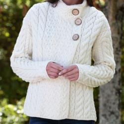 Aran Woollen Mills Ecru High Collar 3 Buttons Cardigan